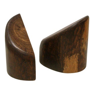 1960s Don Shoemaker Cocobolo Wood Bookends - a Pair
