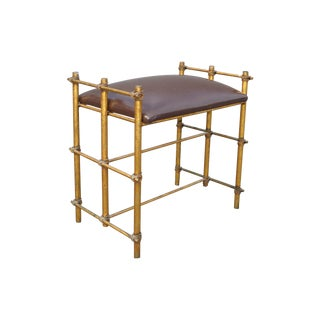 Hollywood Regency Gilt Metal Vanity Bench