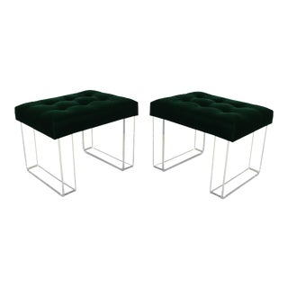 Infinity Style Green Velvet & Lucite Benches - A Pair