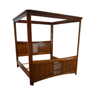 Stickley Cherry Inlaid King Size Poster Canopy Bed