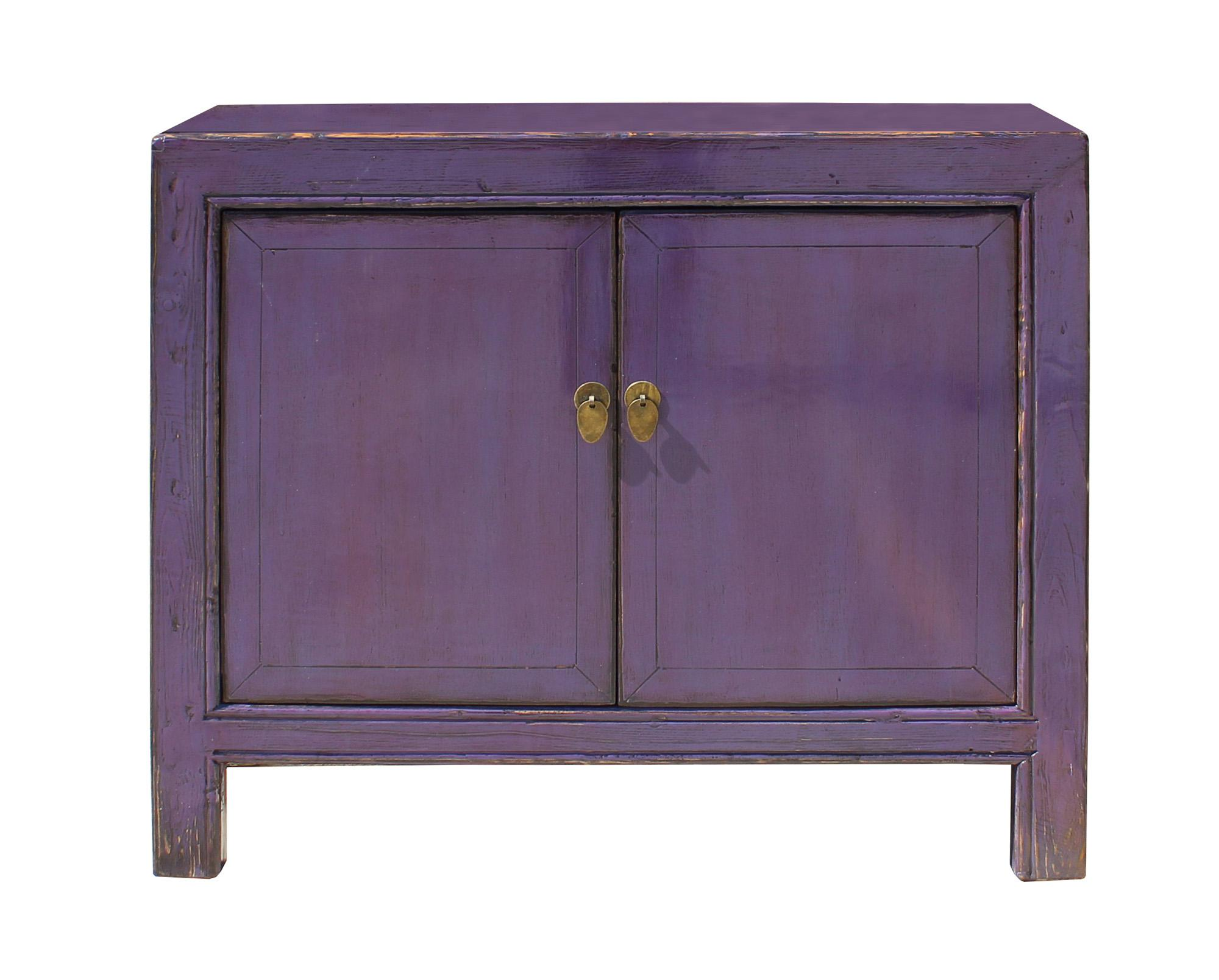 Oriental Simple Purple Credenza Sideboard Buffet Table Cabinet   Image 2 Of  8