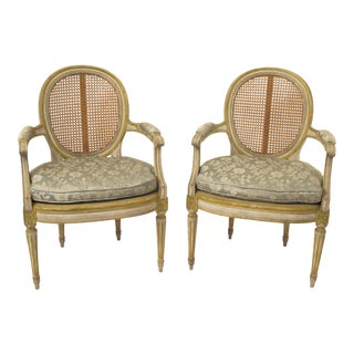 Painted Louis XVI-Style Arm Chairs - A Pair