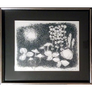 """Moonlight"" Framed 1961 Monochrome Lithograph"