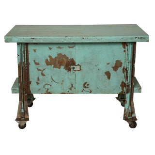 Turquoise Industrial Rolling Bar Cart
