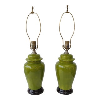 Vintage Green Ginger Jar Style Lamps - A Pair