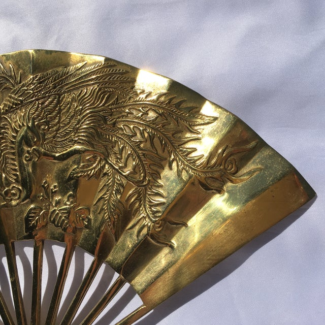 Vintage Brass Chinoiserie Wall Hanging Fan Art - Image 4 of 8