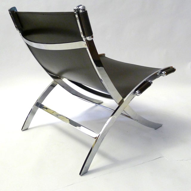 Image of Leather and Chrome Sling Chair Paul Tuttle