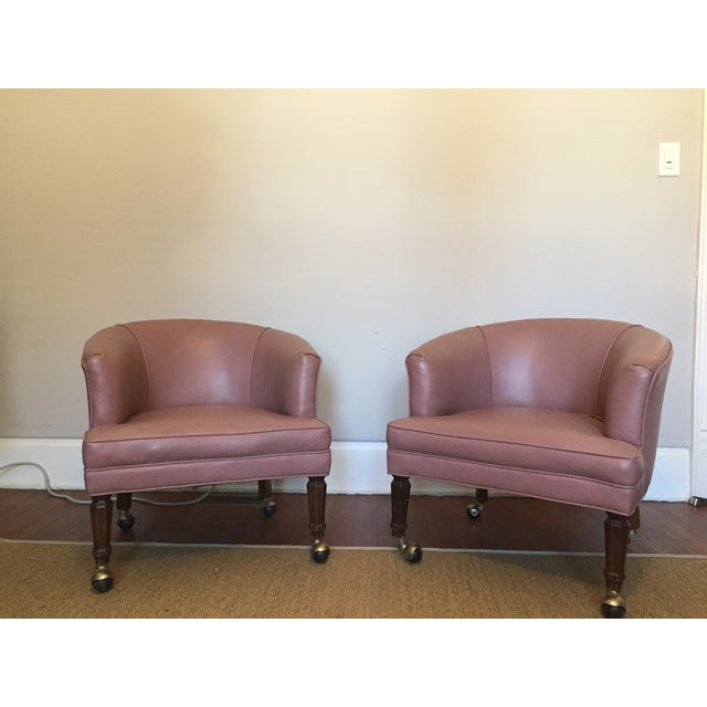 Image of Pair English Regency Tub Chairs on Wheels