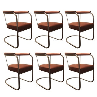 Alivar SP4 Chrome & Leather Chairs - Set of 6