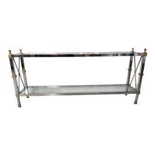 Maison Jansen Style Chrome & Brass Console Table