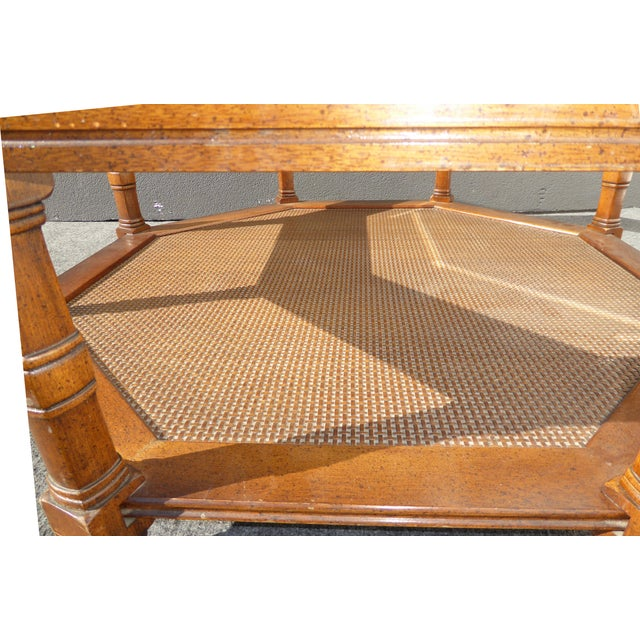 Mid Century Octagon Beveled Glass Top Coffee Table - Image 7 of 9