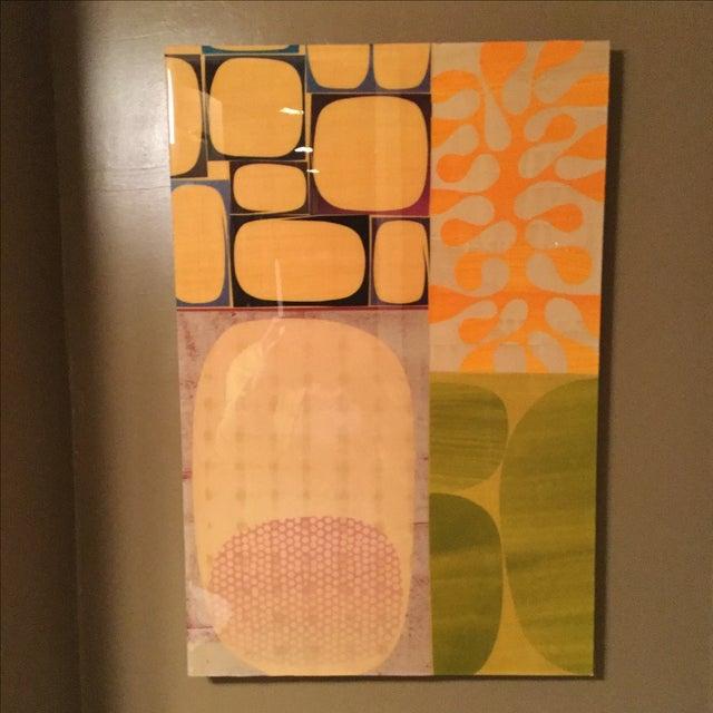 Image of Rex Ray Original Orange & Green Collage on Wood