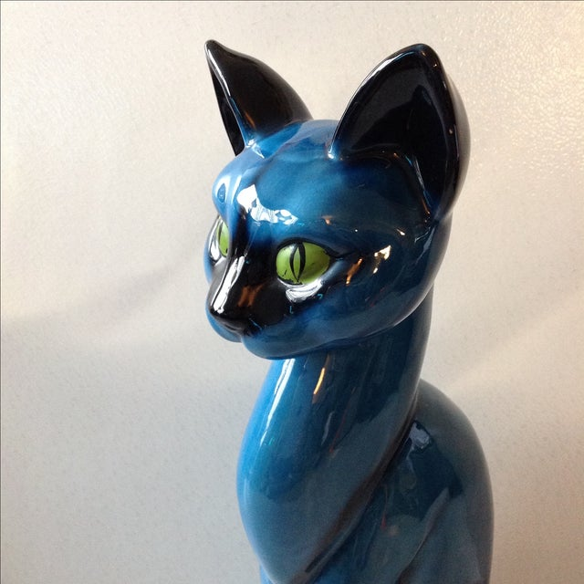 Mid-Century Modern Blue Ceramic Pottery Cat - Image 4 of 11