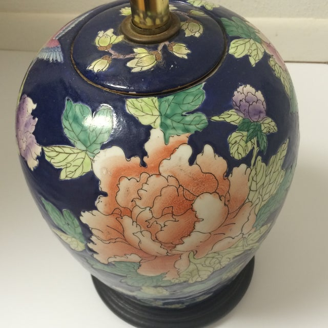 Chinoiserie Blue Floral Ginger Jar Lamp - Image 6 of 8