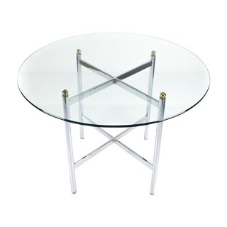 Pace Chrome & Brass Round Dining Table