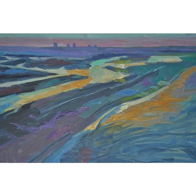 Image of Vintage Ray Cuevas Beach & Bay Sunset Painting