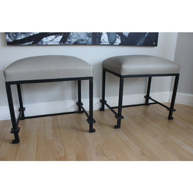 Leather & Hammered Steel Benches - A Pair - Image 2 of 5