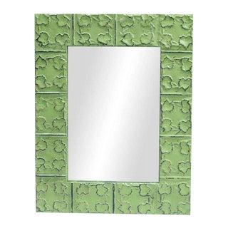 Cross & Leaves Lime Green Tin Mirror