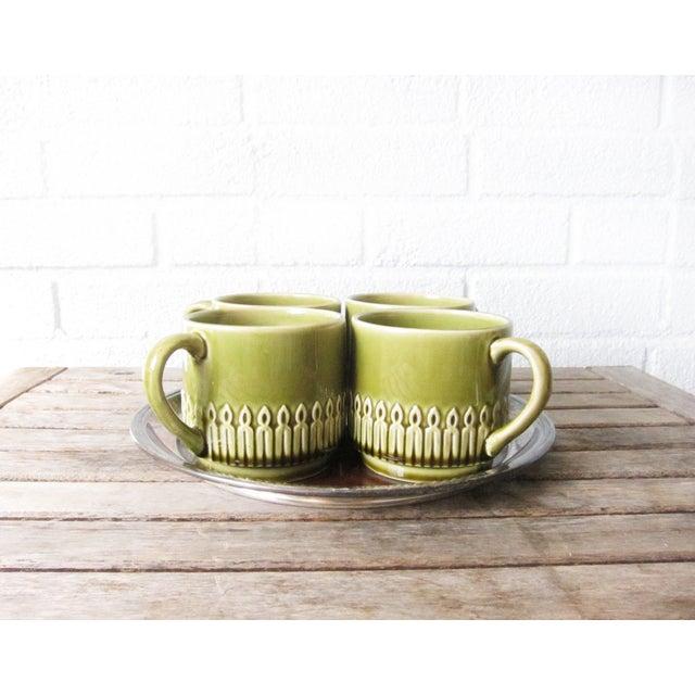 Green Drip Glaze Mugs & Tray - Set of 4 - Image 5 of 6