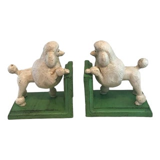Vintage Cast Iron Poodle Bookends - A Pair