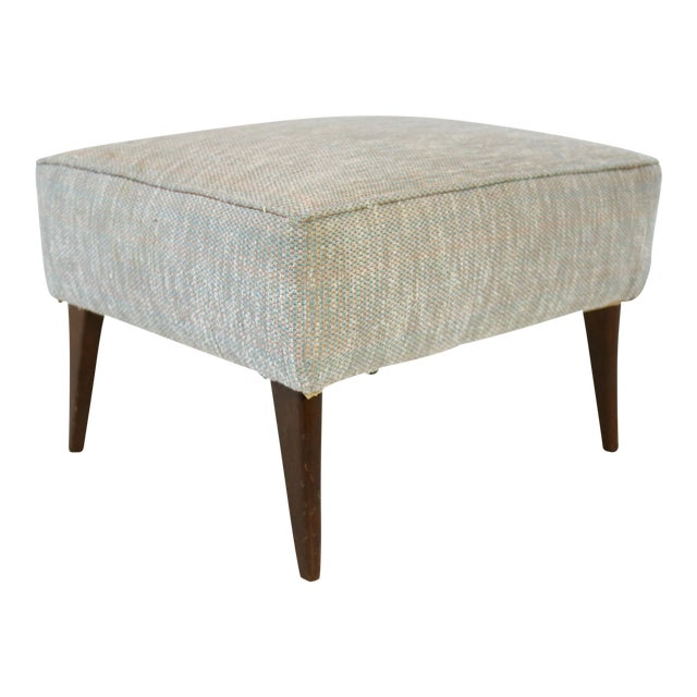 Mid Century Blue Tan And Ivory Tweed Ottoman - Image 1 of 4