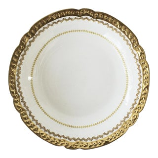 GDA France White Porcelian Gold Trimmed Serving Bowl