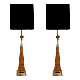 Tommi Parzinger for Stiffel Monumental Obelisk Lamps - a Pair