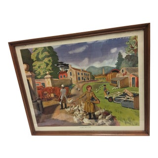 "1960 Lupton Original ""A Dairy Farm in Eire"" Lithograph"