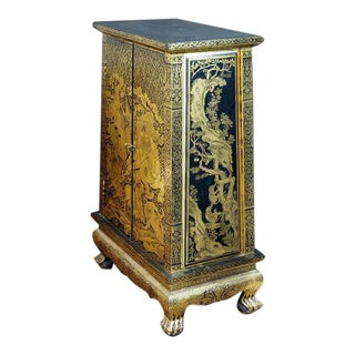 Stunning Thai Gold and Lacquer Decorated Teak Manuscript Cabinet