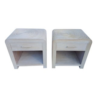 Gabriella Crespi Style Pencil Rattan Nightstands A Pair