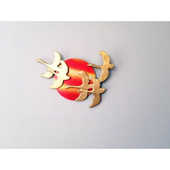 Image of Vintage Brass Birds Wall Hanging