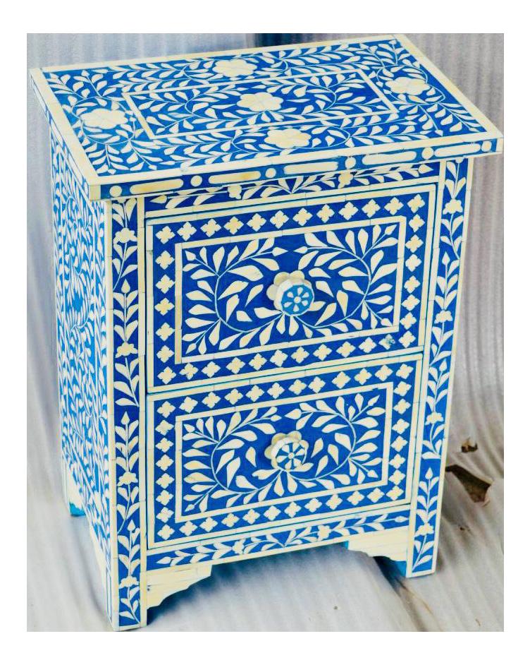 Blue Bone Inlay Side Table