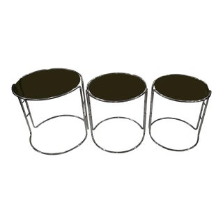 Milo Baughman Chrome & Smoked Glass Stacking Tables - Set of 3