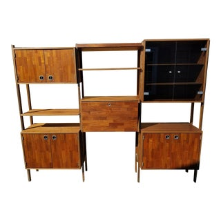 Mid-Century Walnut & Teak Modular Wall Unit