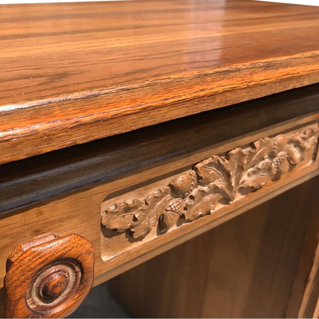 Image of Antique American Country Carved Oak Office Desk