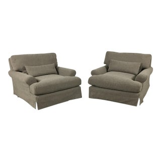 Contemporary Slipcovered Lounge Chairs - A Pair
