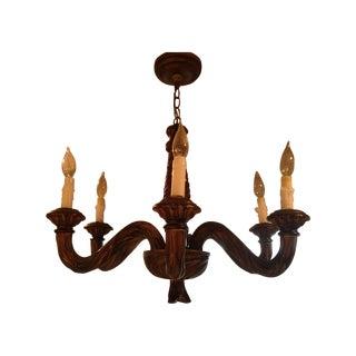 Antique Gilt Wood 6 Light Chandelier