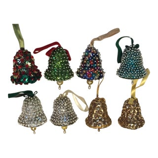 Vintage Mid-Century Modern Beaded Hand Made Christmas Bell Ornaments - Set of 8