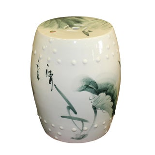 Chinese Green Lotus Leaf White Porcelain Scenery Round Stool Table