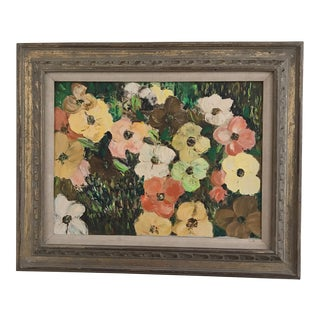 Mid-Century Poppy Field Oil Painting