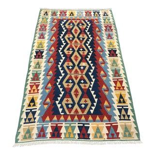 Handmade Flat Woven Kilim Rug - 4'5'' x 7'7''
