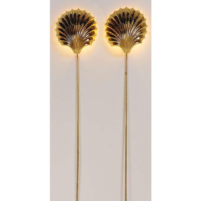 Image of Cast And Hammered Brass Shell Sconces With Cord Covers Cicra 1970s