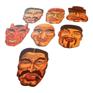 1940's Vintage Halloween Masks - Set of 7