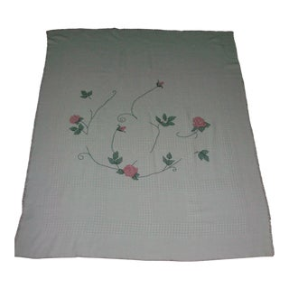 Vintage Hand Embroidered Rose Design Afghan Throw Blanket