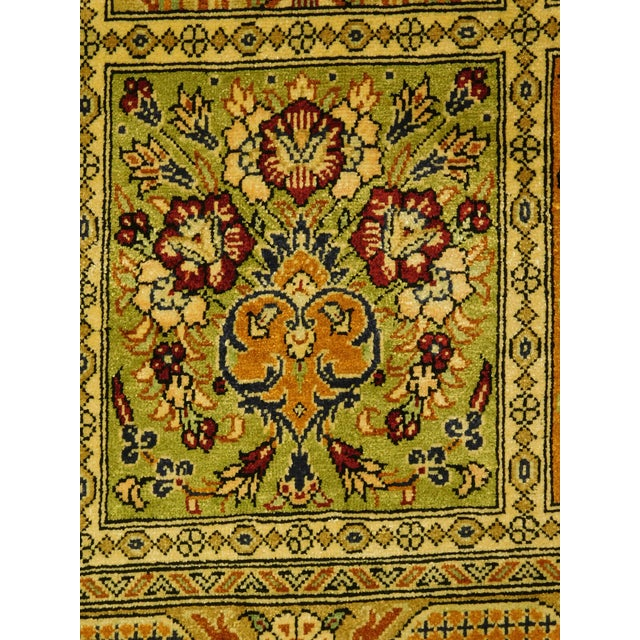 "Hand Knotted Pure Silk Persian Qom Rug - 4'10"" x 4'10"" - Image 7 of 9"
