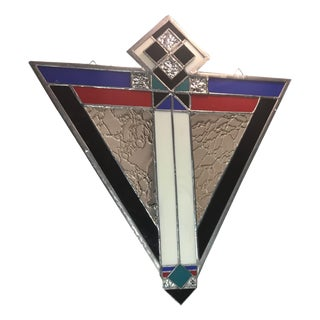 Art Deco Chevron Stained Glass Panel