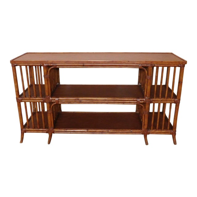 Ethan Allen Rattan Media Console Sofa Table - Image 1 of 9