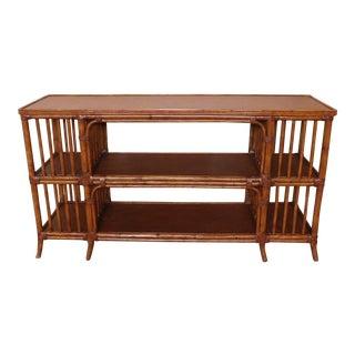 Ethan Allen Rattan Media Console Sofa Table