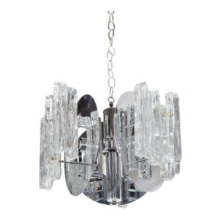 Mid-Century Modern Sculptural Ice Glass Chandelier by Salviati