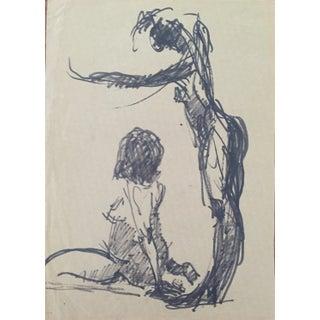 """1960's """"Two Women"""" Marker Drawing, Frank J. Bette"""